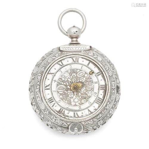Circa 1680  Goullons, Paris. A large silver clock coach watch with alarm (af)