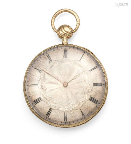 Circa 1830  A continental gold key wind open face quarter repeating pocket watch