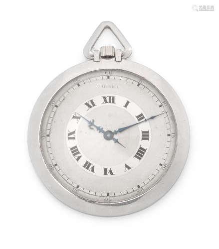 Circa 1930  Cartier. A platinum keyless wind open face pocket watch