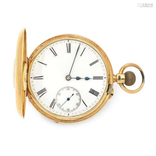 London Hallmark for 1902  Masters & Leete, 4 Clerkenwell Road, London. An 18K gold keyless wind half hunter pocket watch
