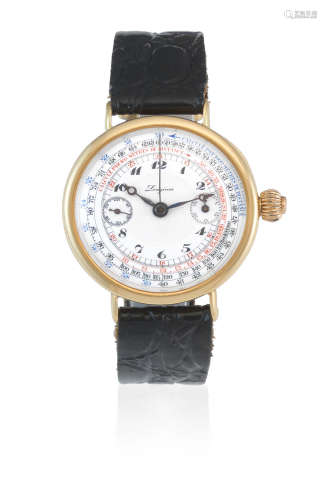 Circa 1924  Longines. A rare and early 18K gold manual wind single button chronograph wristwatch