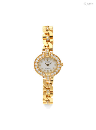 Cellini, Ref: 2435, Circa 1995  Rolex. A lady's 18K gold and diamond set manual wind bracelet watch