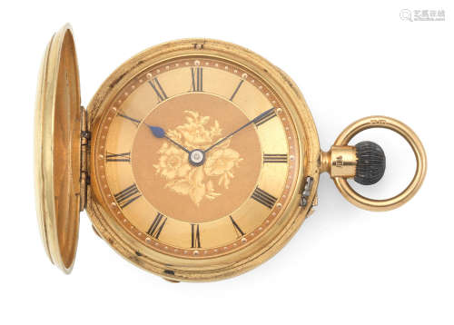 London Hallmark for 1881  Rotherhams, London. An 18K gold keyless wind full hunter pocket watch