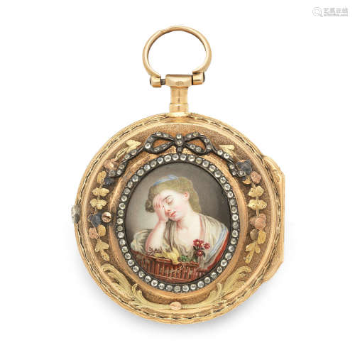Circa 1770  Abraham, Colomby. A gilt metal key wind pair case pocket watch with enamel portrait miniature