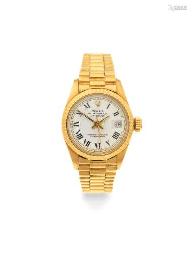 Datejust, Ref: 6917, Circa 1980  Rolex. A lady's 18K gold automatic calendar bracelet watch