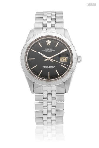 Datejust, Ref: 6125, Circa 1965  Rolex. A stainless steel automatic calendar bracelet watch