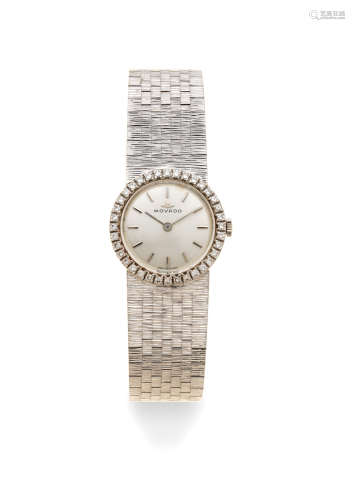 Circa 1970  Movado. A lady's 18K white gold and diamond set manual wind bracelet watch