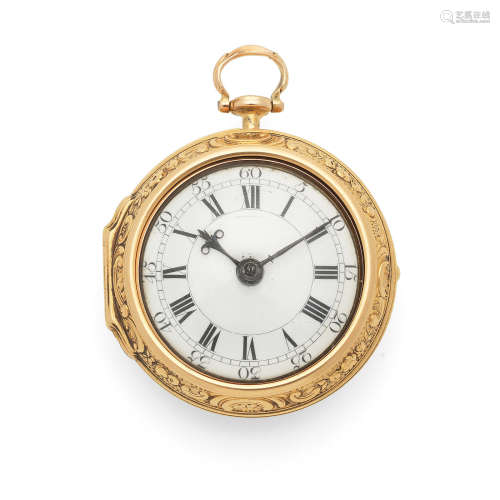 London Hallmark for 1744  William Mayhew, Woodbridge. An 18K gold key wind pair case pocket watch with repousse decoration