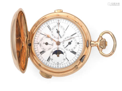 Circa 1900  A 14K gold keyless wind full hunter quarter repeating pocket watch with moon phase