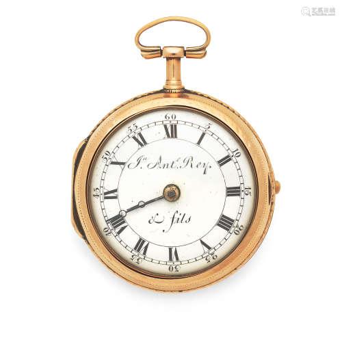 Circa 1800  Jn Ante Rey & Fils. A continental gold key wind pair case pocket watch