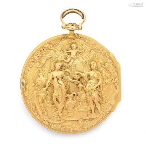 Circa 1740  Daniel & Thomas Grignion, London. A gold key wind pair case pocket watch with repousse decoration