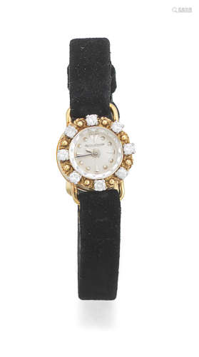 Circa 1936   Jaeger-LeCoultre. A lady's 18K gold manual wind diamond set wristwatch