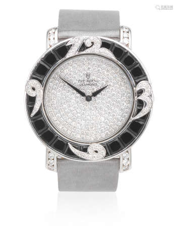 Ref: BA 80 S, Circa 2005  The Royal Diamond. An 18K white gold and stainless steel onyx and diamond set quartz wristwatch