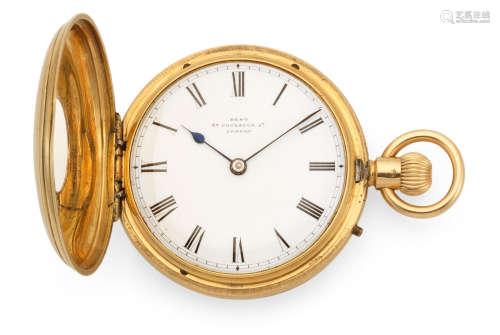 London Hallmark for 1870  Dent, 33 Cockspur Street, London. An 18K gold keyless wind half hunter pocket watch