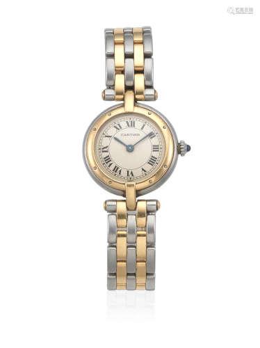 Pantheré, Ref: 24495, Circa 1990  Cartier. A lady's stainless steel and gold quartz bracelet watch