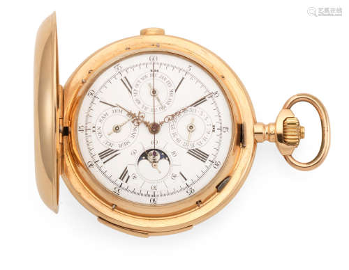 Circa 1890  An 18k gold keyless wind full hunter quarter repeating triple calendar chronograph pocket watch with moon phase