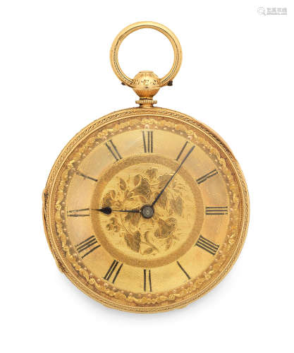 London Hallmark for 1868  An 18K gold key wind open face pocket watch