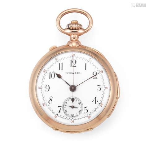 Circa 1880  Tiffany. A 14K rose gold keyless wind open face minute repeating split second chronograph pocket watch