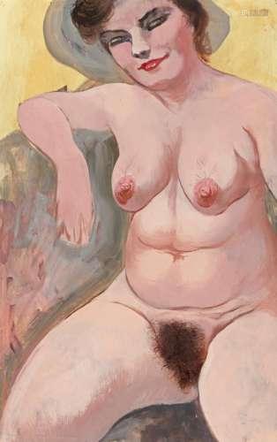 GEORGE GROSZ | Weiblicher sitzender akt (Posing Female Nude)