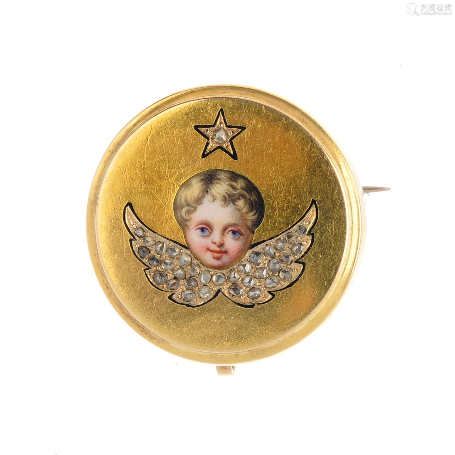A late Victorian gold, diamond and enamel cherub brooch. The painted enamel face, with rose-cut