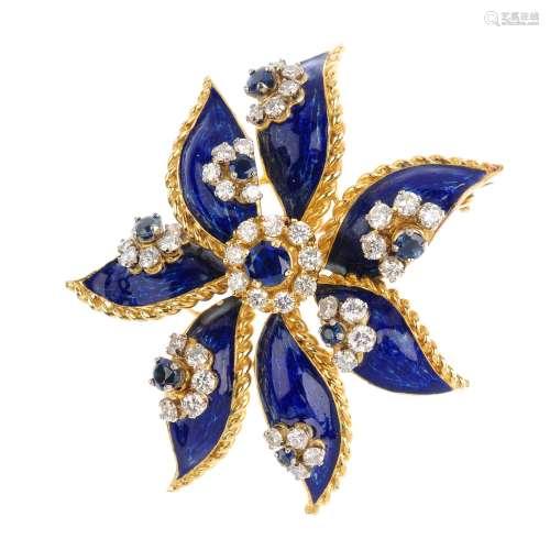 KUTCHINSKY - a set of 1960s 18ct gold sapphire, diamond and enamel jewellery. The pendant designed