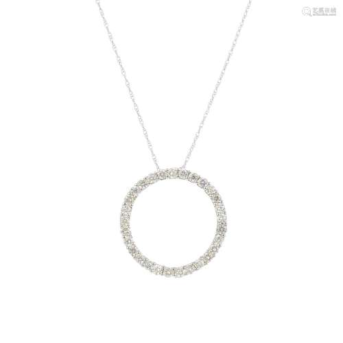 A diamond pendant. Designed as a brilliant-cut diamond circle, suspended from a trace-link chain.