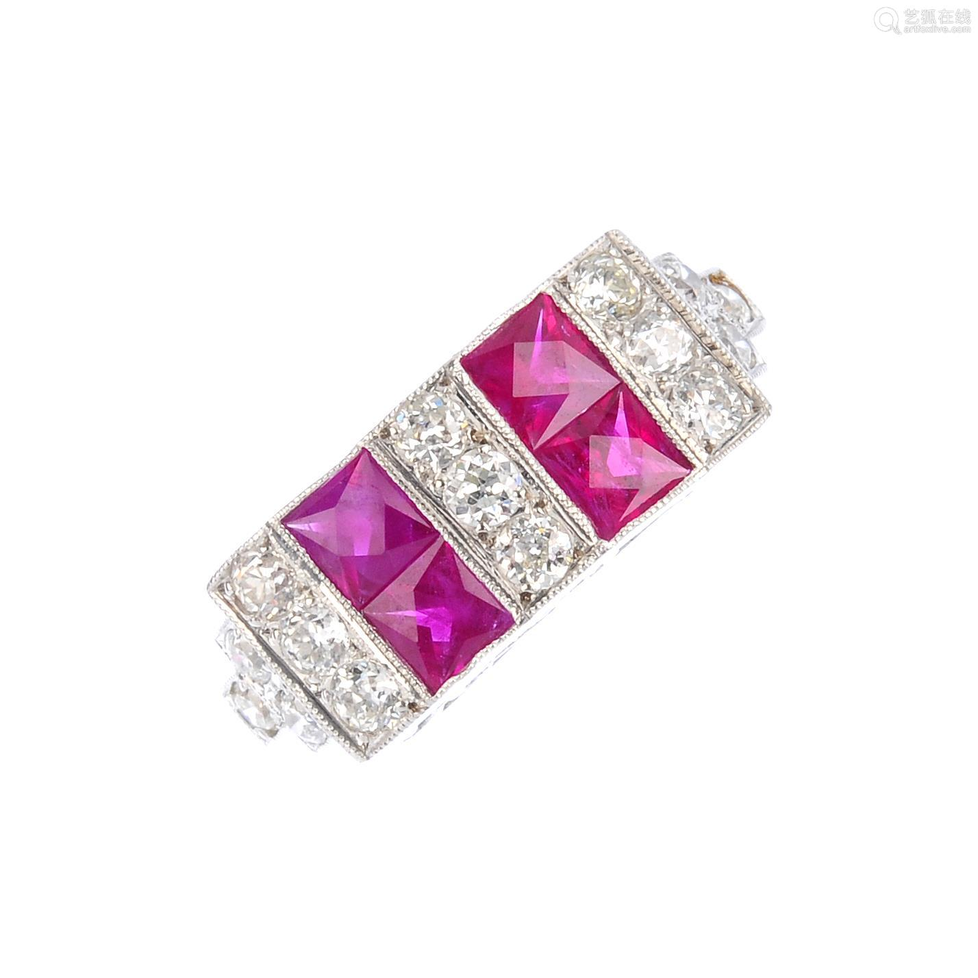 A diamond and ruby dress ring. Designed as a series of alternating square-shape ruby and brilliant-