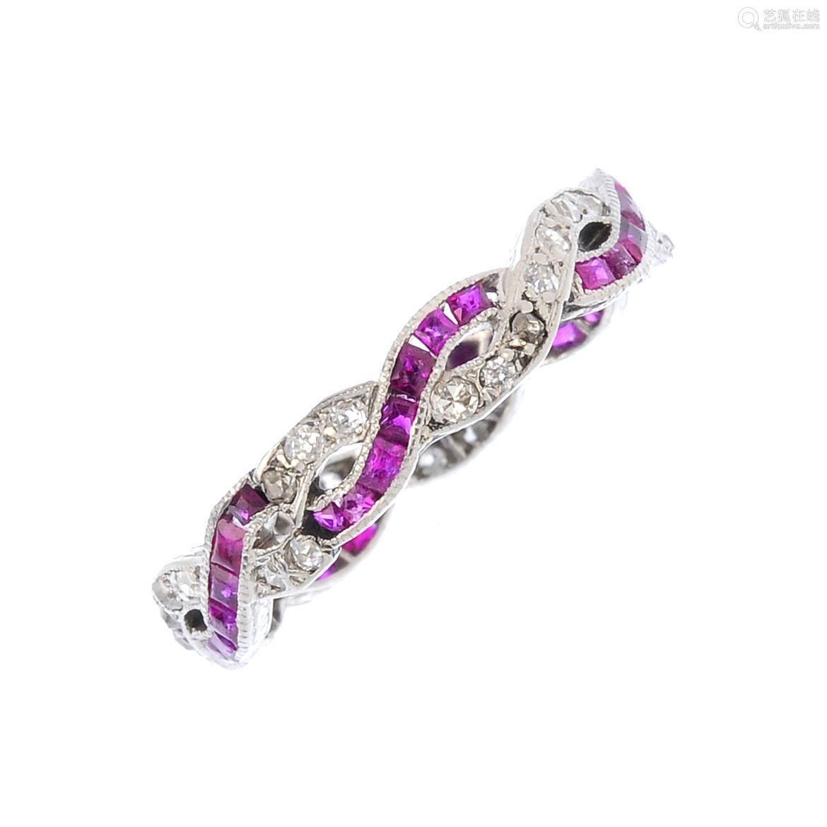 A ruby and diamond full eternity ring. Designed as two pave-set diamond and square-shape ruby