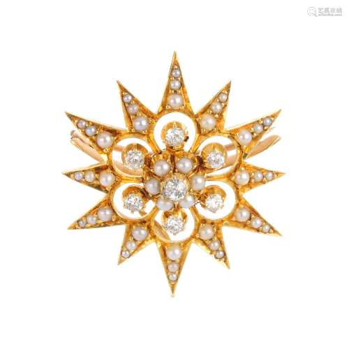 An early 20th century gold diamond and split pearl star brooch. The old-cut diamond and split