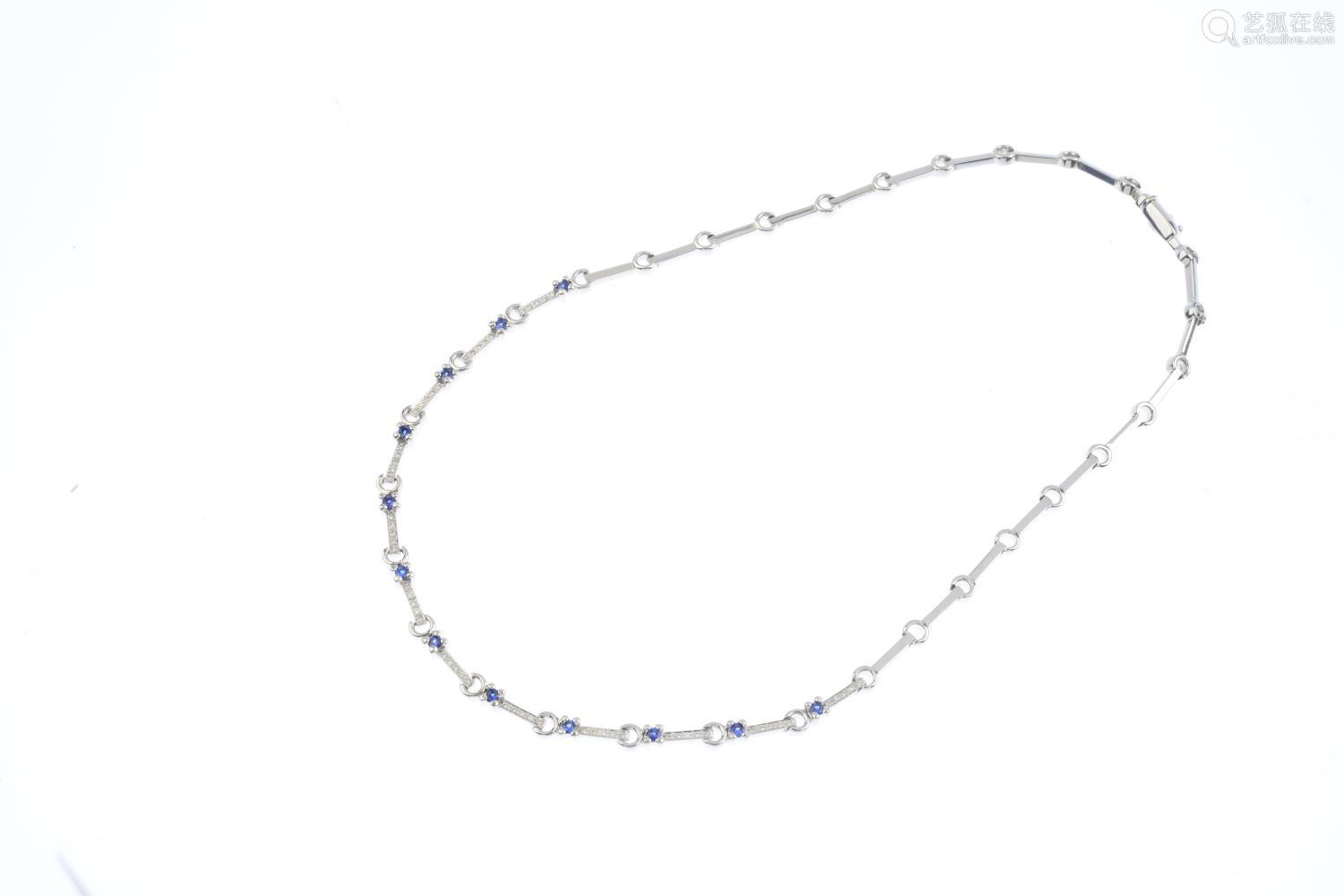 An 18ct gold sapphire and diamond necklace. Designed as a series of brilliant-cut diamond bar links,