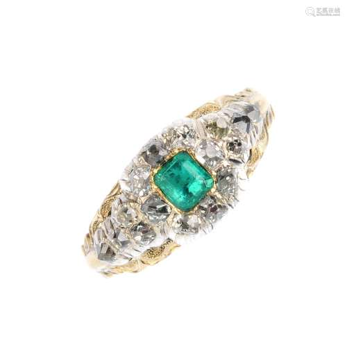 An early Victorian emerald and diamond memorial ring. The square-shape emerald, with old-cut diamond