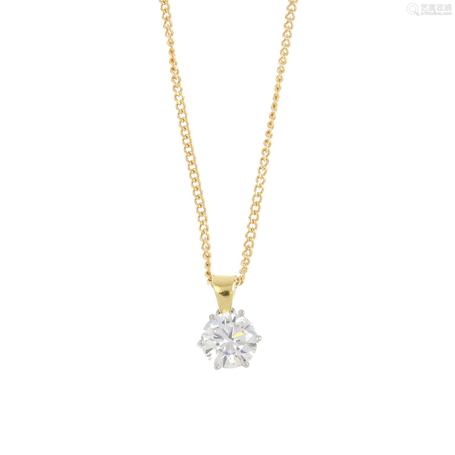 A diamond single-stone pendant. The brilliant-cut diamond, suspended from a tapered surmount and