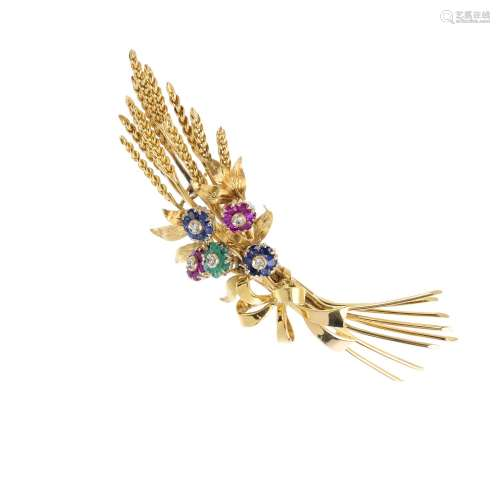 TIFFANY & CO. - a mid 20th century 18ct gold, diamond and gem-set floral brooch. Designed as a