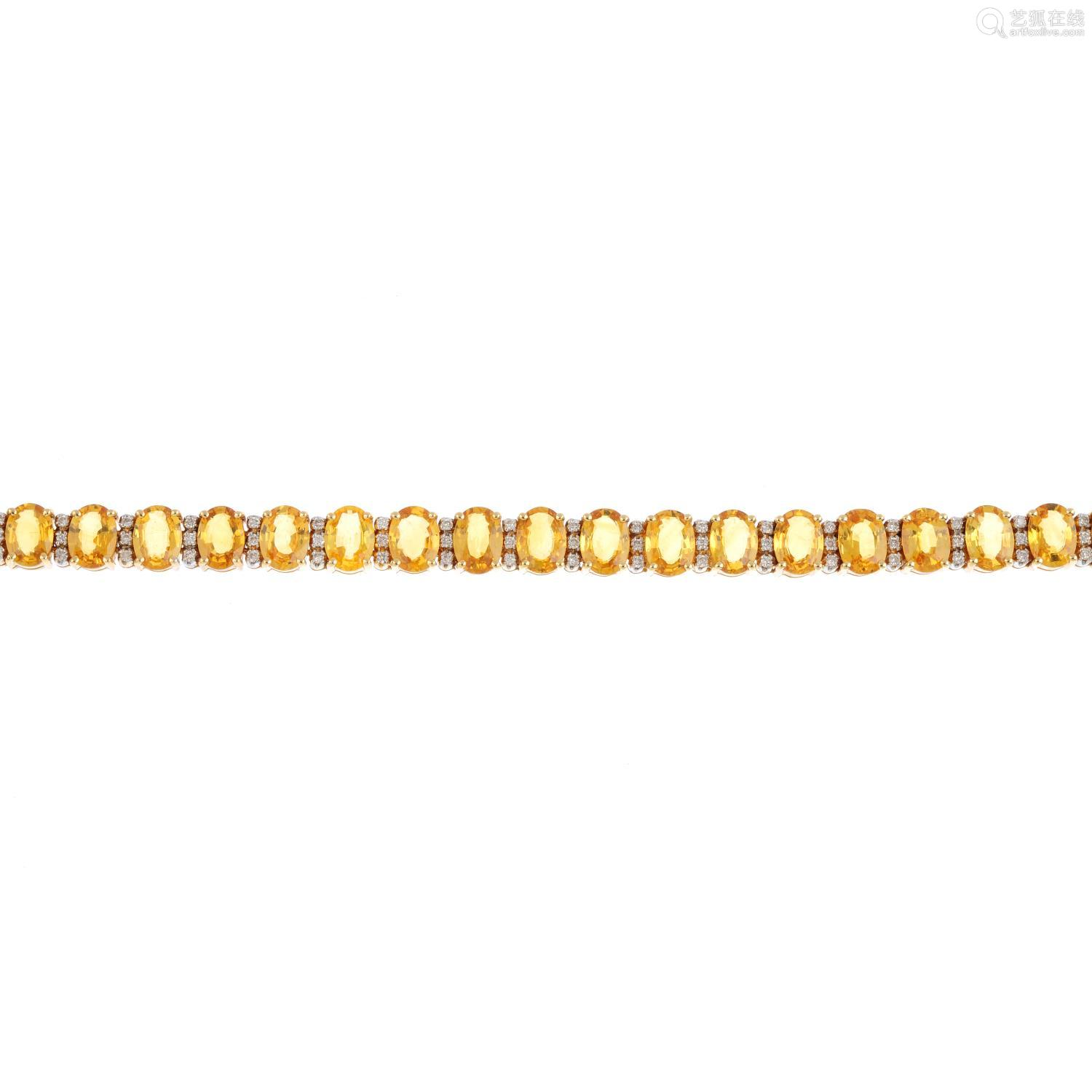 A sapphire and diamond bracelet. Designed as a series of oval-shape yellow sapphires, with