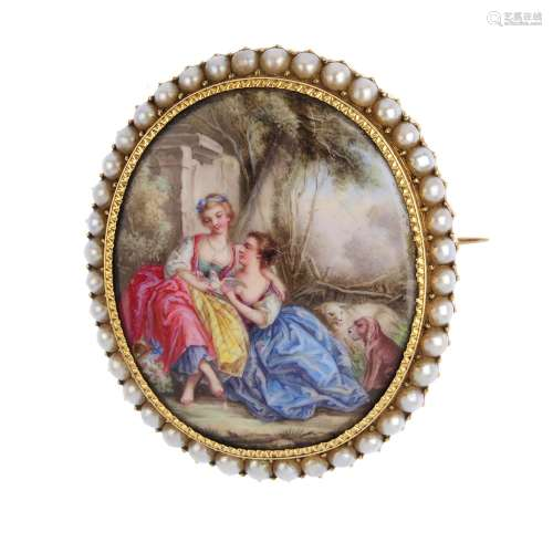 A mid 19th century gold enamel and split pearl brooch. Of oval outline, depicting two women
