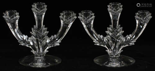 MOLDED GLASS THREE LIGHT CANDELABRA PAIR