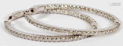 DIAMOND & 14KT WHITE GOLD ELONGATED HOOP EARRINGS