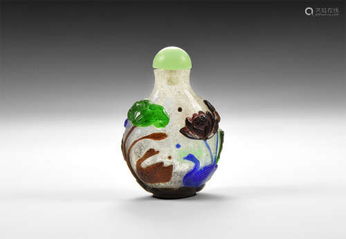 Chinese Five Colour Decorated Snuff Bottle