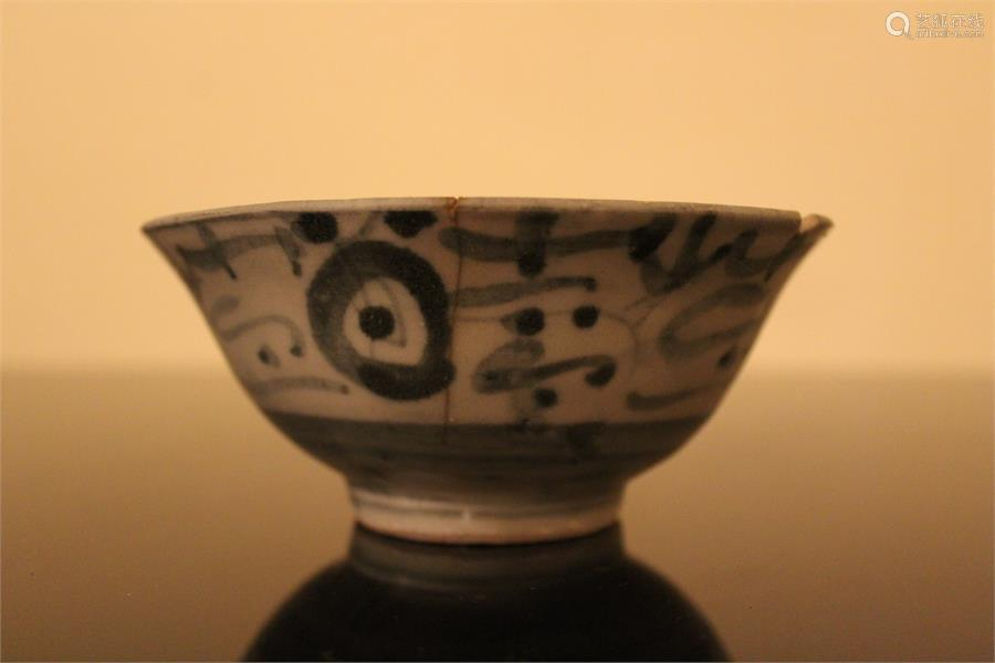 A Chinese blue and white porcelain bowl, painted in underglaze blue with abstracted decoration on