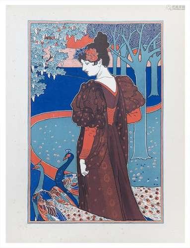 Estampe Moderne - La femme au paon