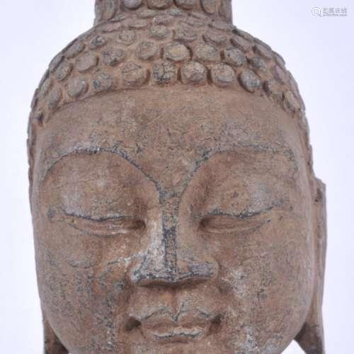 19世纪东南亚灰石岩雕菩萨头像