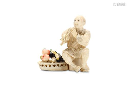 A JAPANESE IVORY OKIMONO OF A FRUIT SELLER. Meiji period. Seated on a stump, holding his kiseru
