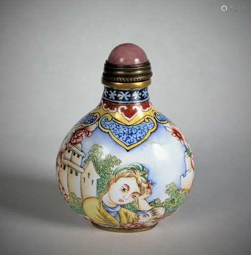 Cloisonne Painted Snuff Bottle with Top  and Mark