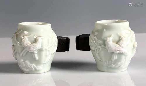 Pair of Porcelain Bird Tea Cups with Wood Handle