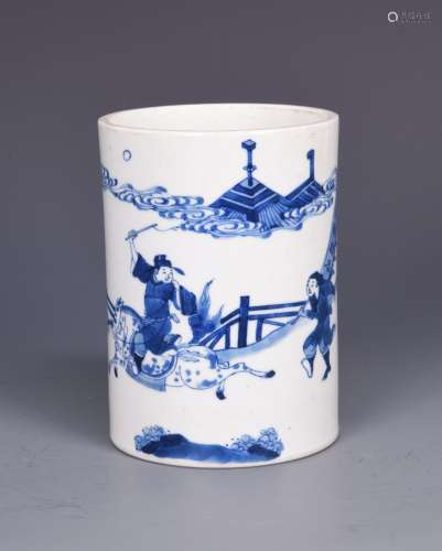 Blue and White Porcelain Brush Pot