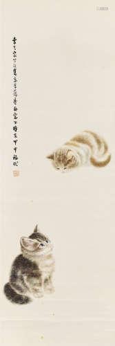 甲申(1944)年作 曹克家(1906 - 1979)雙貓圖 設色紙本 立軸