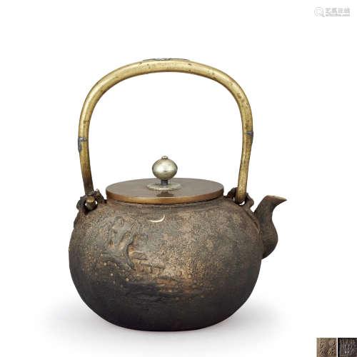 亀文堂正平 銀象嵌山水紋鐵壺