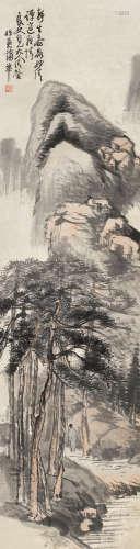 蒲華(1839 - 1911)松壑參天 設色紙本 立軸
