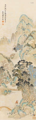 黃山壽(1855 - 1919)倣趙伯駒青綠山水 設色紙本 立軸