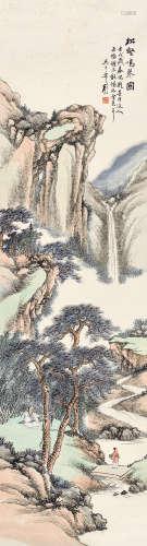 壬戌(1922)年作 顧頤(1865 - 1930)松壑鳴琴圖 設色紙本 立軸